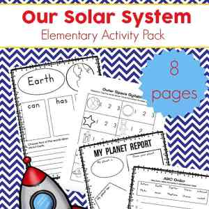 Free Solar System Printables for Elementary Students - featuring a solar system language arts and writing activities