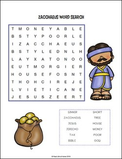 Zacchaeus Word Search from Zacchaeus Printables Packet on Real Life at Home
