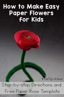 How to Make Easy Paper Flowers for Kids (with free rose template)