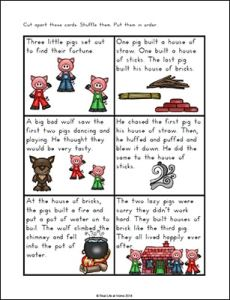 Three Little Pigs Story Sequencing Cards from Real Life at Home (Part of the free Three Little Pigs Printables Packet)