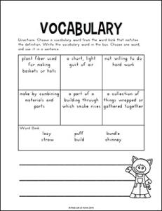 Three Little Pigs Vocabulary Page From Real Life At Home