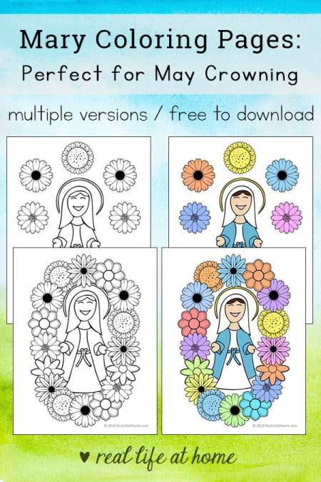 Mary coloring pages set that's perfect for any time of year, but especially great as a May crowning activity! Grab these May crowning printables as a free download from Real Life at Home