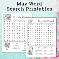 May Word Search Printable Set for Kids