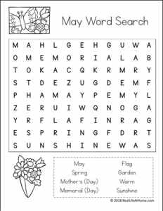 May Word Search Printables for Kids (Easier Version) | Real Life at Home