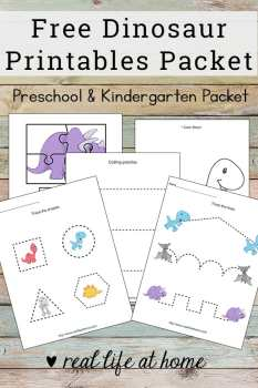 Basic skills practice with this dinosaur printables packet! Free worksheets packet for preschool children featuring coloring, cutting, pre-writing, and more