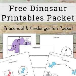 dinosaur printables packet for preschool and kindergarten