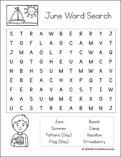 photo relating to Kids Word Search Printable called Cost-free Printable: June Phrase Appear Printable Puzzle for Young children