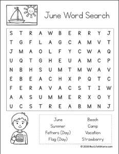 June Word Search Printables for Kids (Easier Version) | Real Life at Home