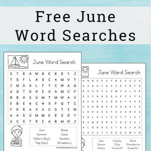 Free June Word Search Printable for Kids - There are two versions of this printable with different levels of difficulty. | Real Life at Home