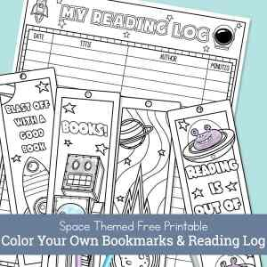 This post has a free printable space-themed reading log and a set of four space bookmarks to color for kids. Themes include rockets, robots, asteroids, & more. | Real Life at Home
