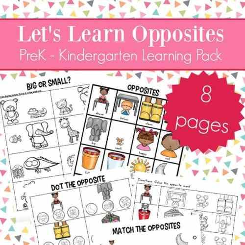 Opposites Worksheets for Kindergarten and Preschool (Antonyms Worksheets Packet)