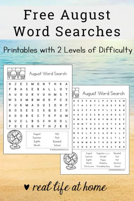Free August Word Search Printable for Kids - There are two versions of this printable with different levels of difficulty. | Real Life at Home