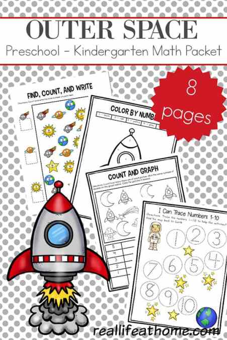 Free Space Preschool and Kindergarten Math Worksheets working on counting, writing numbers, graphing, one-to-one correspondence, number words, and more