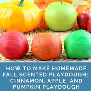 Directions for how to make fall-themed homemade scented playdough including recipes for pumpkin playdough, apple playdough, and cinnamon playdough. | Real Life at Home