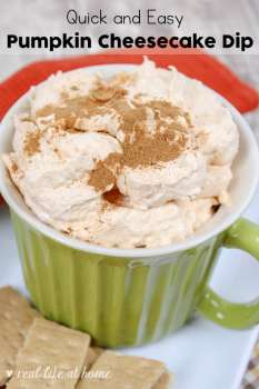 Pumpkin Cheesecake Dip Recipe - Perfect for fall and winter gatherings, the pumpkin fluff dip in this post is quick to throw together and will have your guests asking for the recipe. Included toward the end of this post, you'll also find a printable version of this Pumpkin Cheesecake Dip Recipe. | Real Life at Home