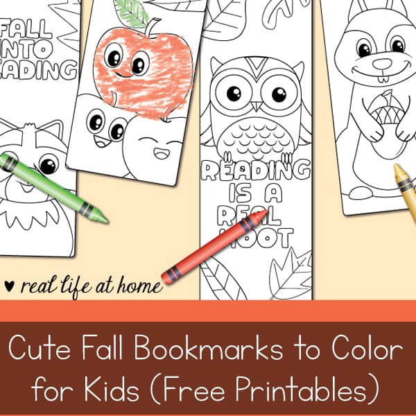Cute Fall Bookmarks to Color for Kids (Free Printable)