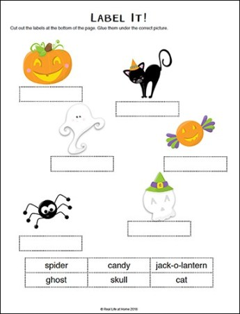 Halloween Labeling Activity Page from the free Halloween Literacy Packet on Real Life at Home