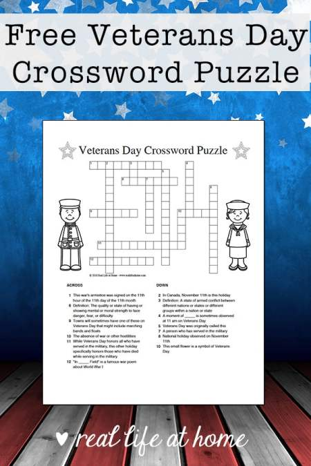 Free Veterans Day Crossword Puzzle Printable for Kids | Real Life at Home