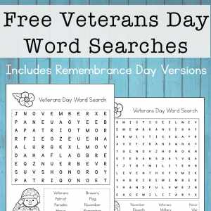 Free Veterans Day Word Search printables with multiple versions of difficulty. The post also includes Remembrance Day Word Search printable options.