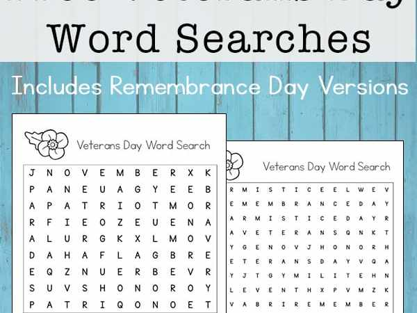 Veterans Day Word Search Printable (& Remembrance Day Word Search)