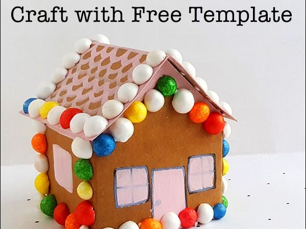 Cute Gingerbread House Paper Craft with Free Printable Template