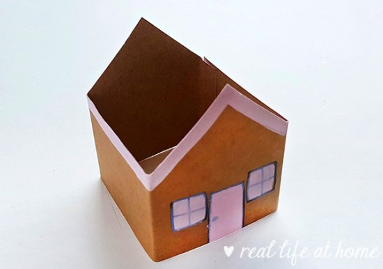 Gingerbread Craft Step 5 (assembling the Gingerbread House Paper Craft) from Real Life at Home