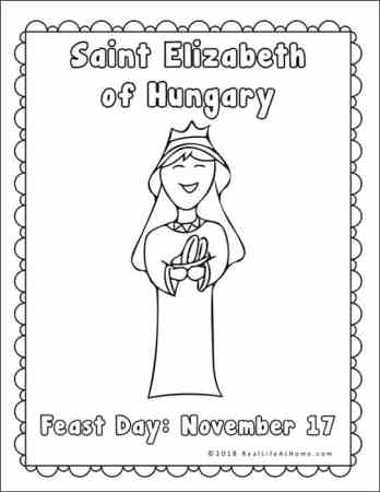 Coloring Page from Saint Elizabeth of Hungary Printables Packet