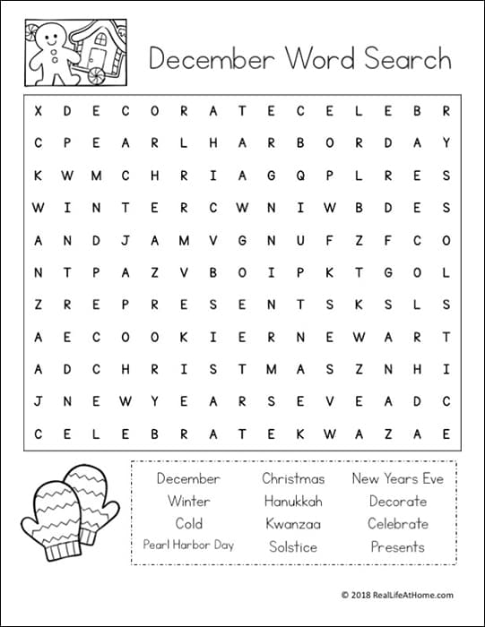 photograph relating to New Years Word Search Printable titled December Phrase Appear Printable Puzzle for Small children (Free of charge Printable)