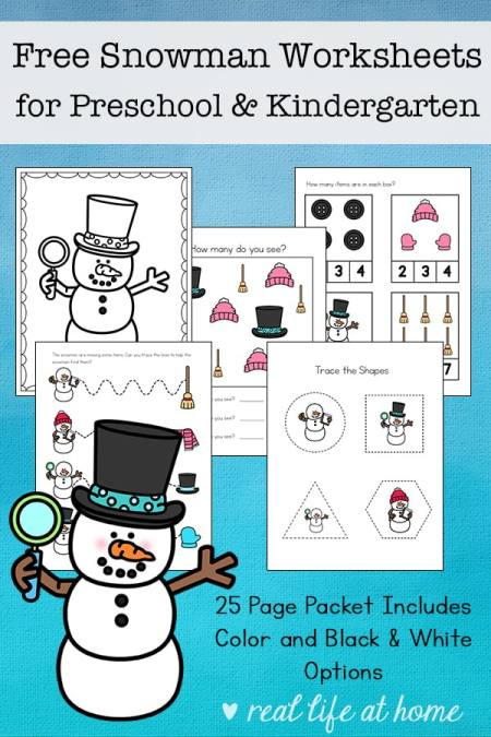 Free 25-page snowman worksheets printable packet for preschool and kindergarten students, featuring early math, writing, and language arts skills.