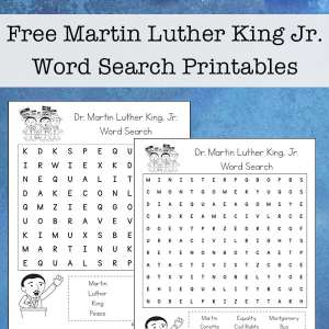 Free Martin Luther King Word Search Printable Set from Real Life at Home