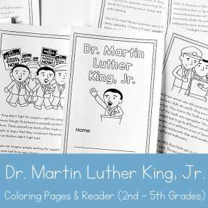 Dr. Martin Luther King Jr. Printable Book (with coloring page areas) for 2nd - 5th Grade