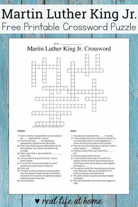 Martin Luther King Jr. Crossword Puzzle Free Printable | Real Life at Home