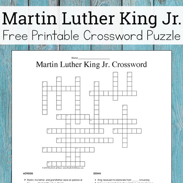 Martin Luther King Jr Crossword Puzzle Free Printable For Kids