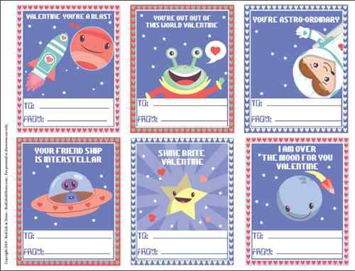 Space Valentines for Kids from Real Life at Home (the actual cards are a free download that you can get on the site)