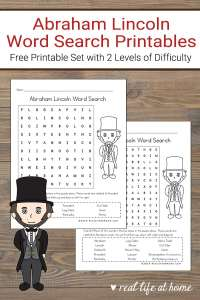 Free Printable Abraham Lincoln Word Search Set for Kids from Real Life at Home