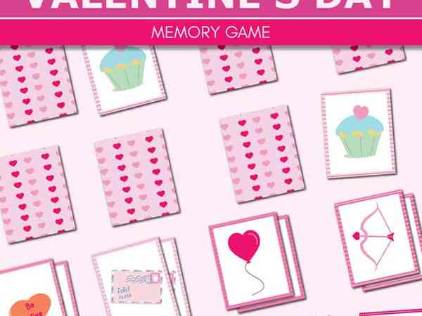 Free Printable Valentine Memory Game for Kids