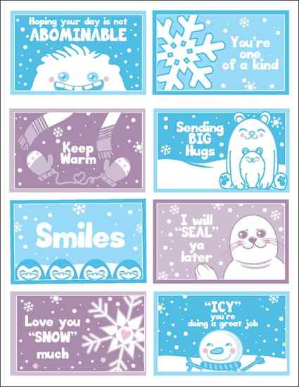 These cute and funny winter-themed cards for kids are sure to add a giggle to lunch when used as winter lunchbox notes. | Real Life At Home (Free download available on the site)