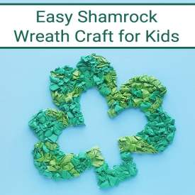 Follow the step-by-step directions and pictures to create your own Saint Patrick's Day Shamrock Wreath Paper Craft using a free printable shamrock template. | Real Life at Home