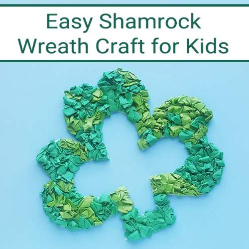 Follow the step-by-step directions and pictures to create your own Saint Patrick's Day Shamrock Wreath Paper Craft using a free printable shamrock template.   Real Life at Home