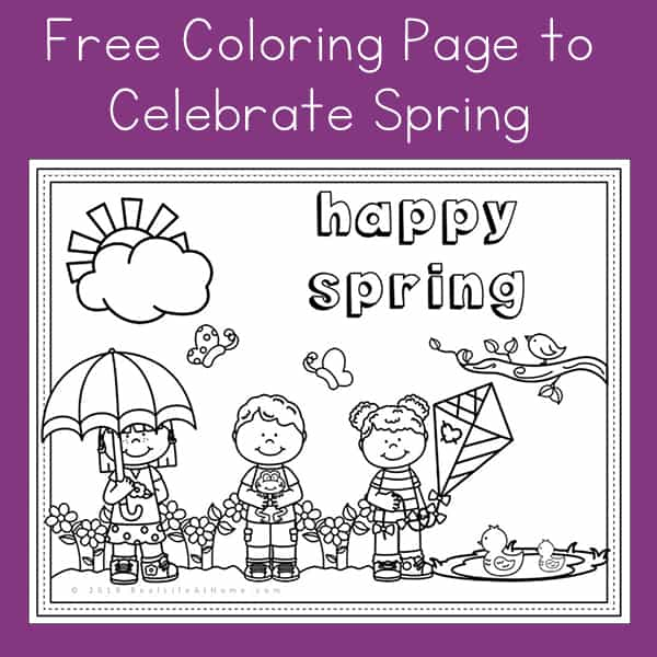 Happy Spring Free Spring Coloring Page Printable For Kids
