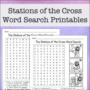 Stations of the Cross word search printables for kids (Way of the Cross word search) from Real Life at Home