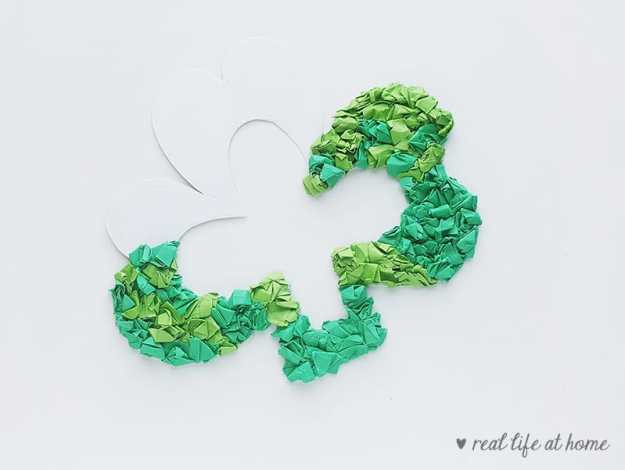 Filling in the shamrock craft | Real Life at Home