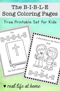 The B-I-B-L-E Song Coloring Pages Free Printables available on Real Life at Home