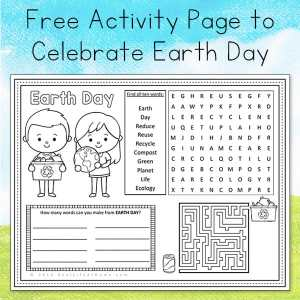 A free printable Earth Day activity page for kids featuring an Earth Day themed coloring area, word search, word game, and maze. | Real Life At Home