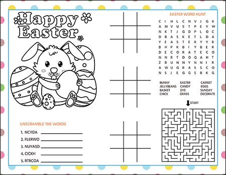 image regarding Printable Easter Activities titled Easter Video game Sheet or Placemat for Little ones (Absolutely free Printable)