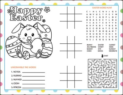 Easter Activity Page / Printable Easter Placemat for Kids - Free and Available from Real Life at Home