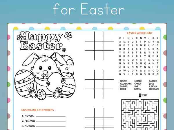 Easter Activity Sheet or Placemat for Kids (Free Printable)