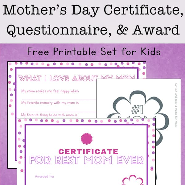 picture about Mom Printables identify Absolutely free Printable Moms Working day Questionnaire, Certification, and