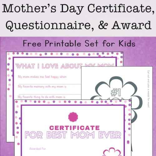 Kids can show their appreciation for mom this year by filling out a Mother's Day questionnaire, Mother's Day certificate, and a badge for mom to wear.   Real Life at Home