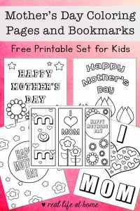 Need Mother's Day coloring pages? Celebrate Mother's Day with four free printable coloring sheets plus a set of three bookmarks that can be colored in.